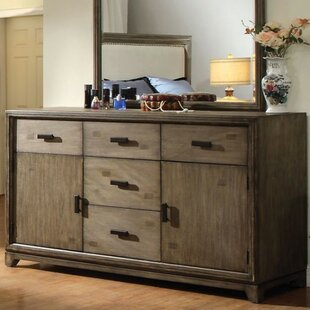 Tisias 5 Drawer Combo Dresser with Mirror