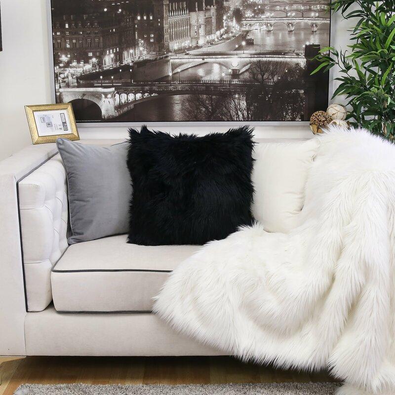 Marilynn Gy Faux Fur Throw Pillow