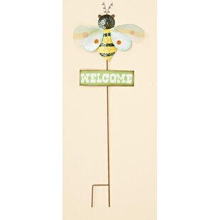 Metal Bumble Bee Welcome Garden Sign
