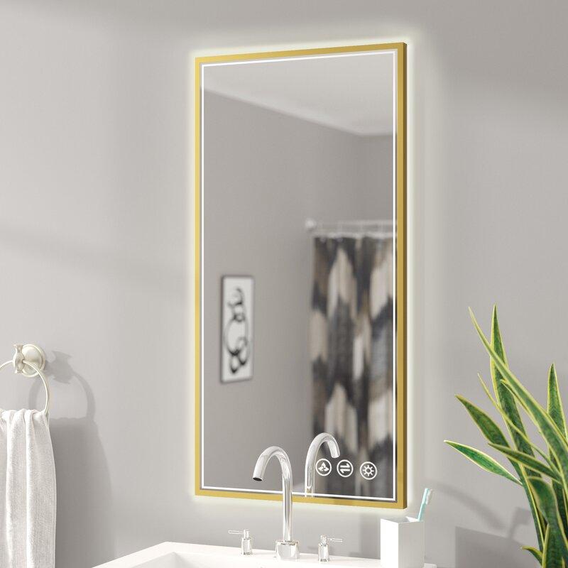 Ivy Bronx Ickes Modern Contemporary Lighted Bathroom Vanity Mirror Reviews Wayfair