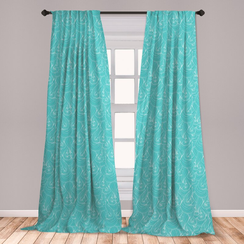 East Urban Home Ambesonne Turquoise Curtains, Abstract