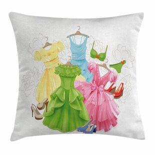 Heels And Dresses Girl Wardrobe Square Pillow Cover