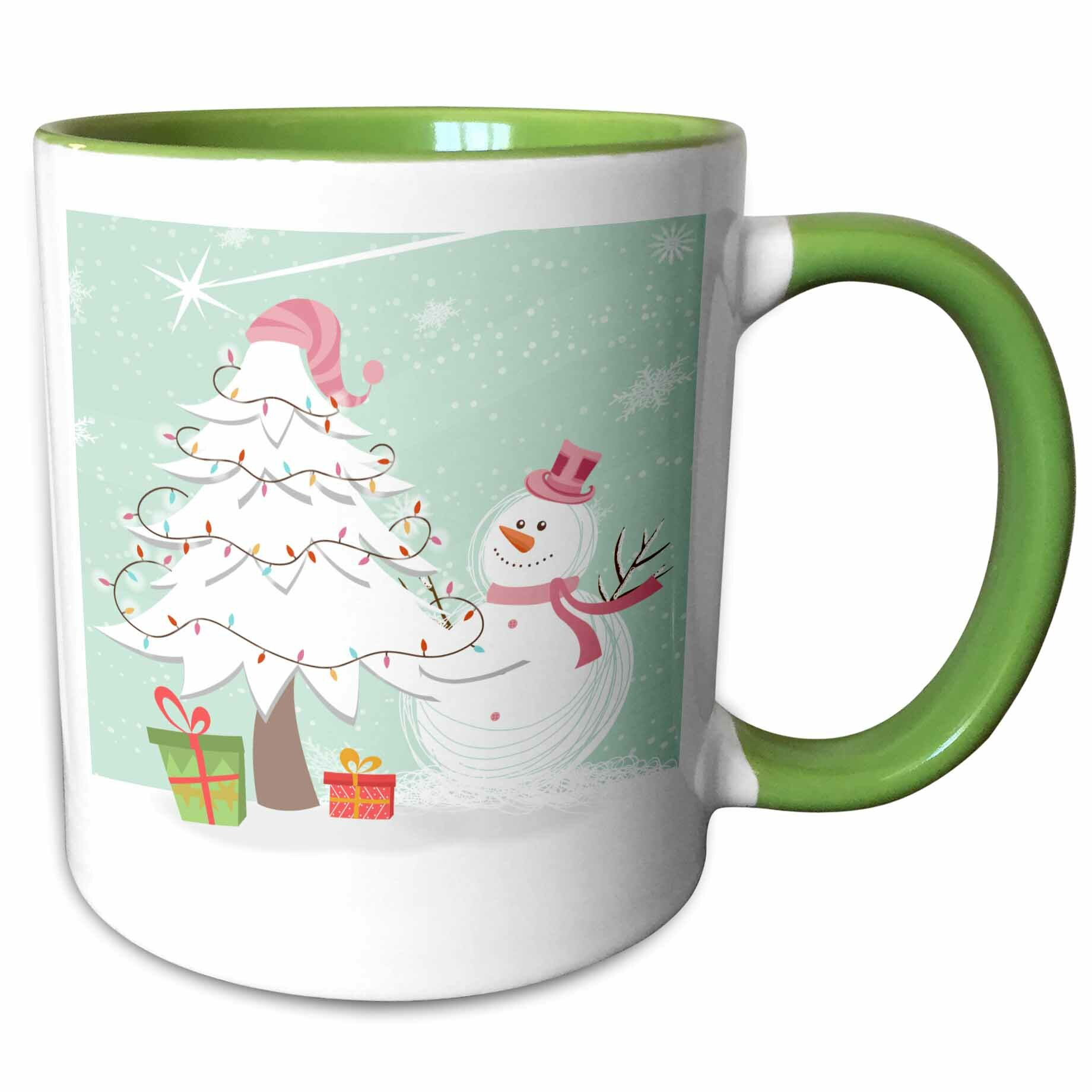 Steward Cute Whimsical Christmas Tree And Winter Snowman Scene Coffee Mug