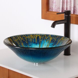 Find Enchantment Glass Circular Vessel Bathroom Sink with Faucet By Elite