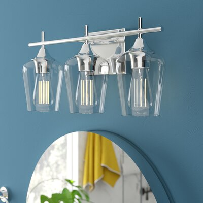 Hickerson 3-Light Vanity Light Mercury Row Finish: Polished Chrome