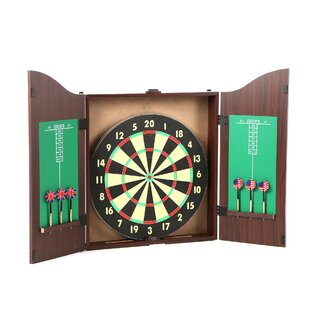 TGT 10 Piece Dartboard Cabinet Set in Realistic Walnut by Trademark Games