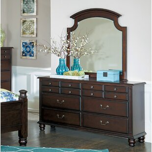 Charlton Home Lonoke 12 Drawer Dresser with Mirror