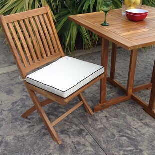 Santa Barbara Folding Teak Patio Dining Chairs with Cushion (Set of 2)