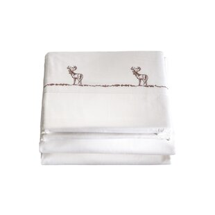 Harrill 4 Piece Embroidered Buck 200 Thread Count 100% Cotton Sheet Set