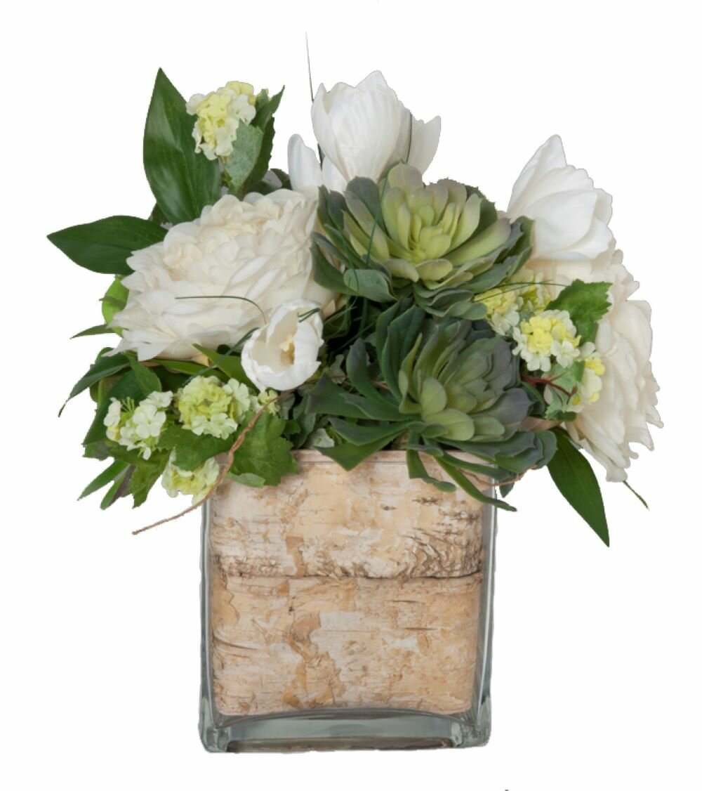 Faux White Flowers And Succulents In Decorative Vase Reviews Joss Main