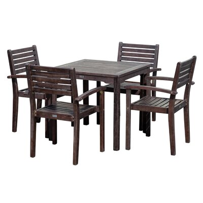 Giesler Eucalyptus Square 5 Piece Dining Set by August Grove Sale