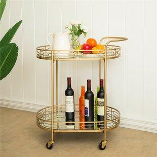 Horsforth Metal Mirrored Bar Cart by Everly Quinn