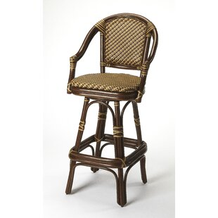 Handy Rattan 30 Swivel Bar Stool Bayou Breeze