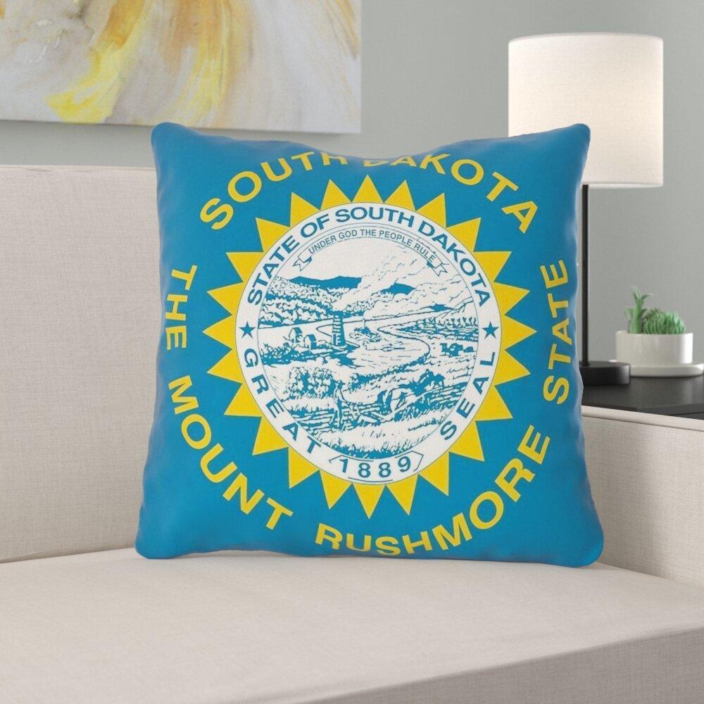 East Urban Home Centers South Dakota Flag In Polyester Throw Pillow No Zipper Indoor Outdoor Wayfair