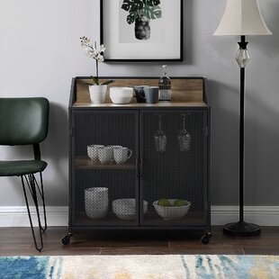 Williston Forge Bowles Bar Cabinet with Mesh