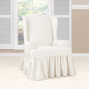 Charmant Essential Twill Ruffled T Cushion Wingback Slipcover