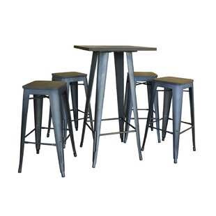 Addilyn Kitchen Decorative Loft Glossy 5 Piece Bar Height Dining Set