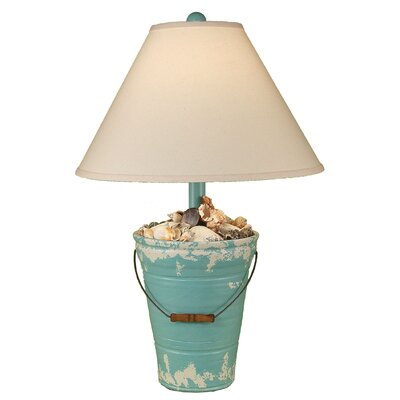 "Coast Lamp Mfg. Coastal Living Bucket of Shells 27.5"" Table Lamp Base Finish: Tattered Turquoise Sea"