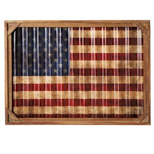 Bon Leah Framed American Flag Rectangle Wall Decor