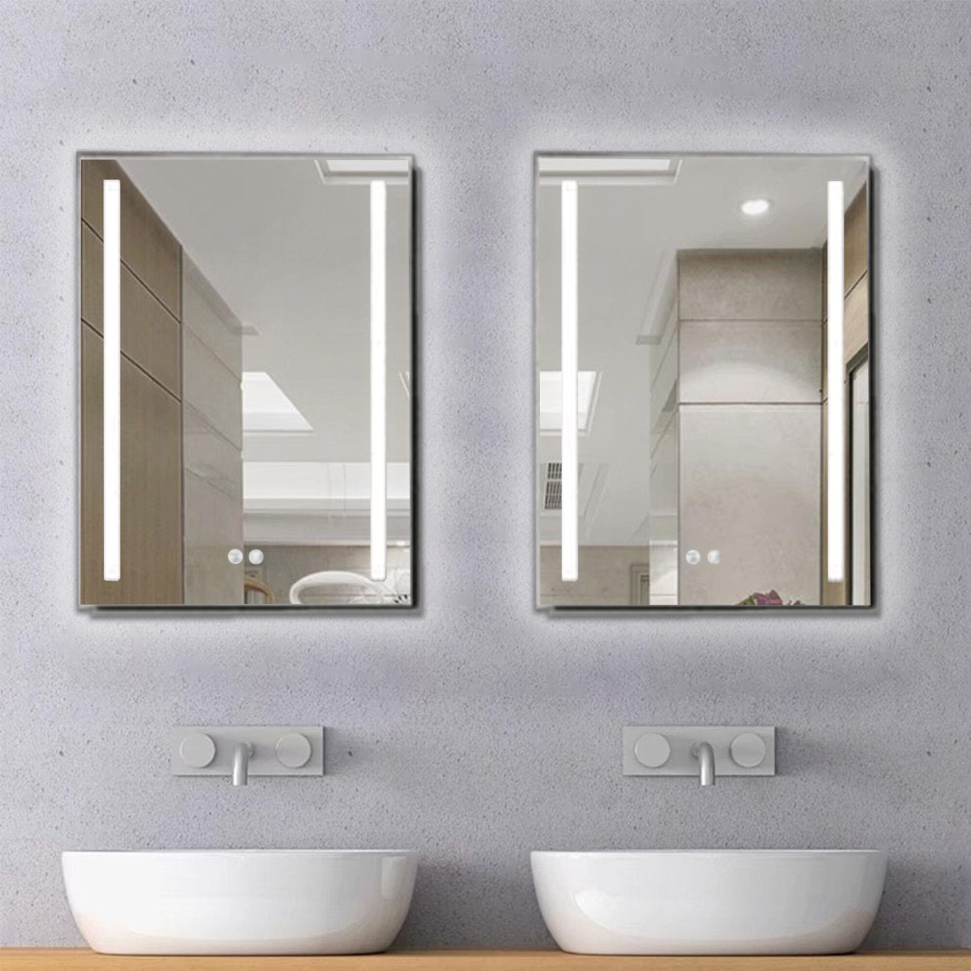 Flanna Modern Contemporary Lighted Bathroom Vanity Mirror Wayfair