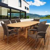 Trudeau International Home Outdoor 9 Piece Teak Dining Set