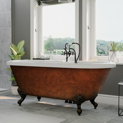 "Acrylic Slipper Clawfoot 60"" X 30"" Freestanding Soaking Bathtub Cambridge Plumbing"