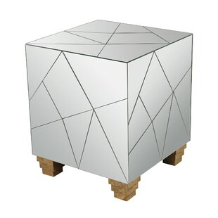 Aureolin Mirrored Cube Accent Stool by Mercer41