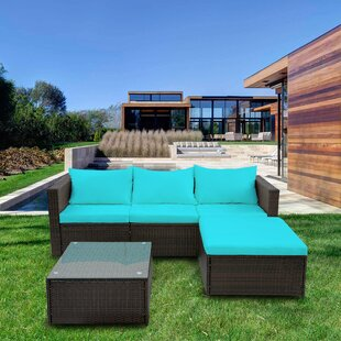 Courson 3 Piece Rattan Sofa Seating Group with Cushions
