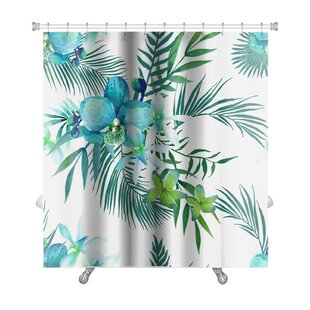 Art Touch Tropical Flowers and Palm Leaves Premium Single Shower Curtain