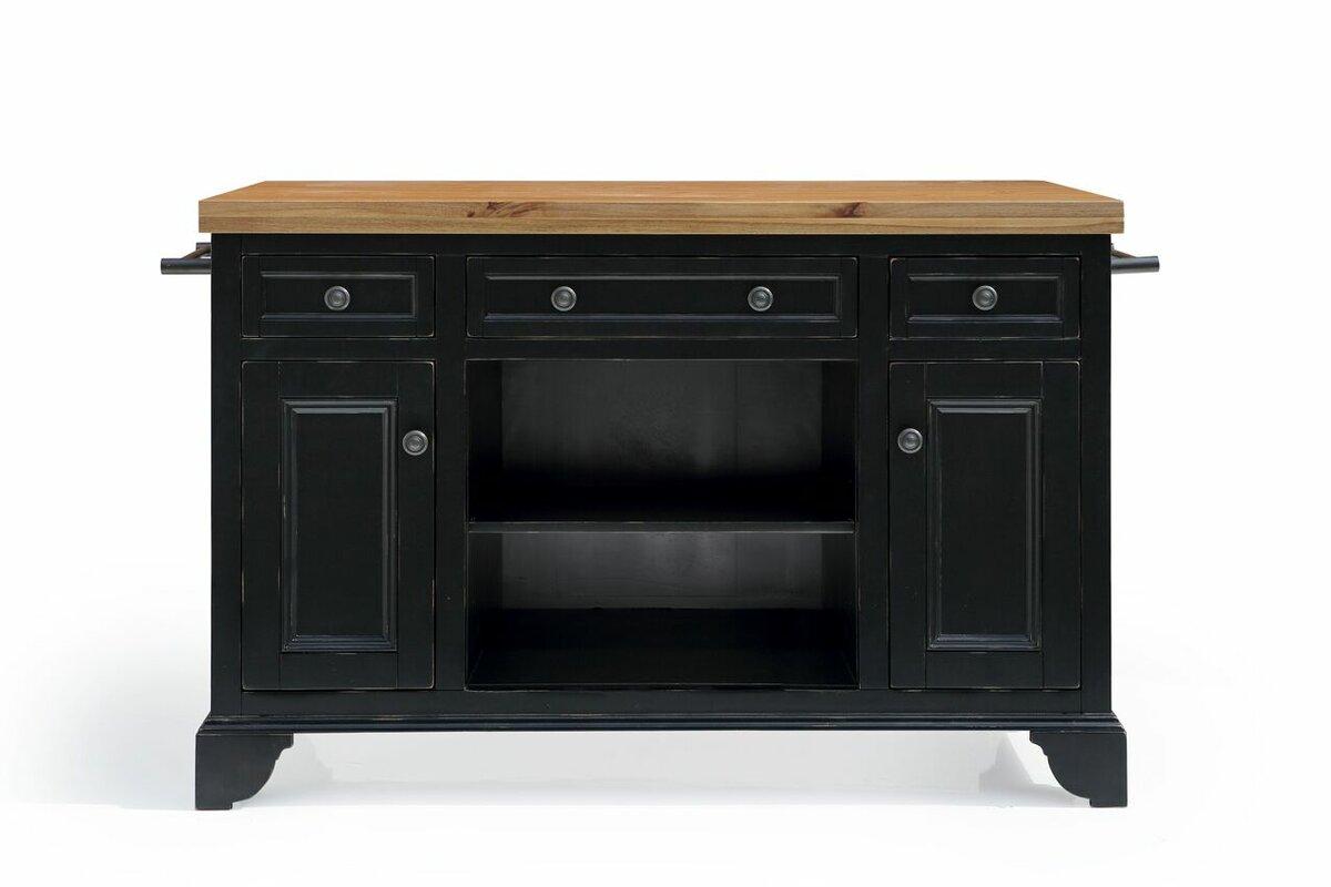 sutton kitchen island with wood top & reviews   allmodern