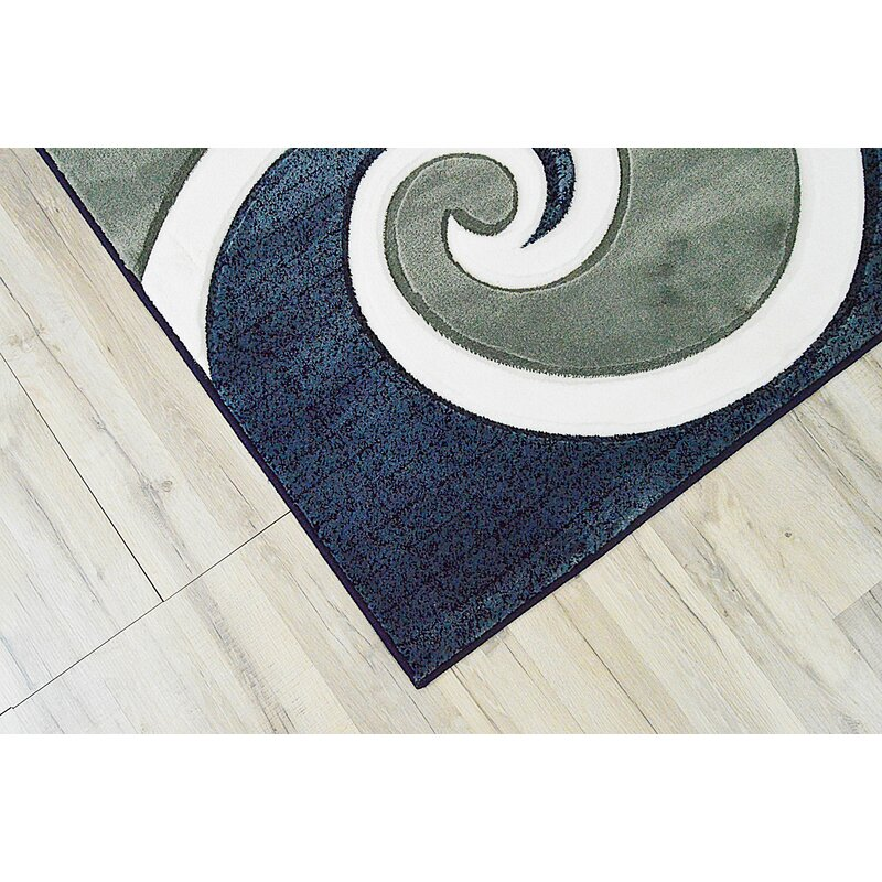 Ivy Bronx Mccampbell 3d Abstract Navy Blue Gray Area Rug Reviews Wayfair