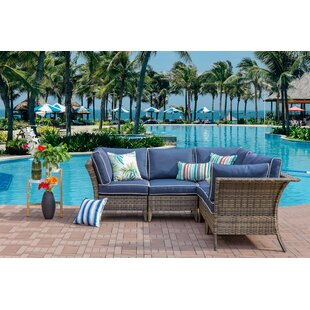 Gagnon Outdoor 5 Piece Rattan Sectional Seating Group with Cushions