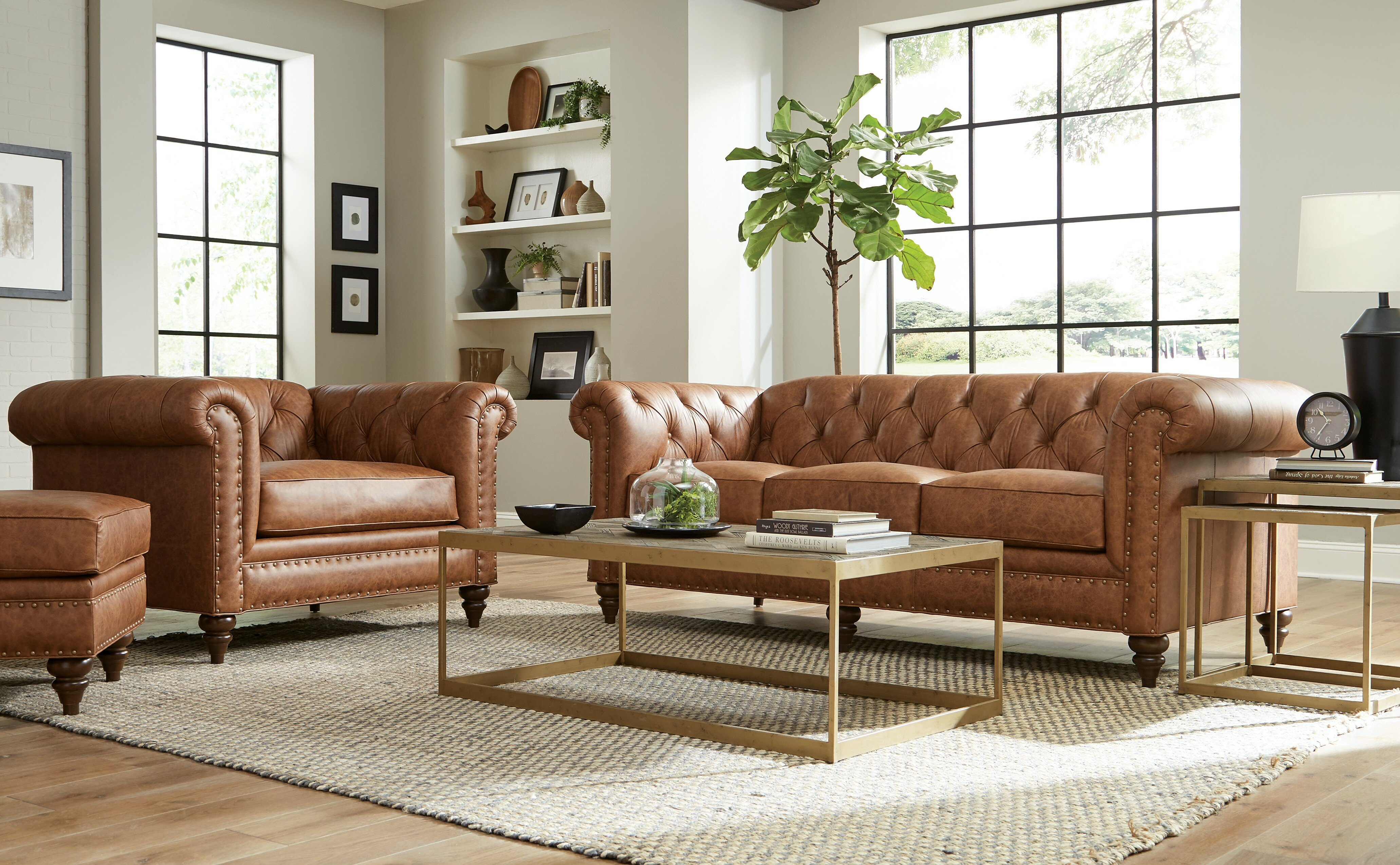 Winslow Leather 10 Piece Leather Living Room Set