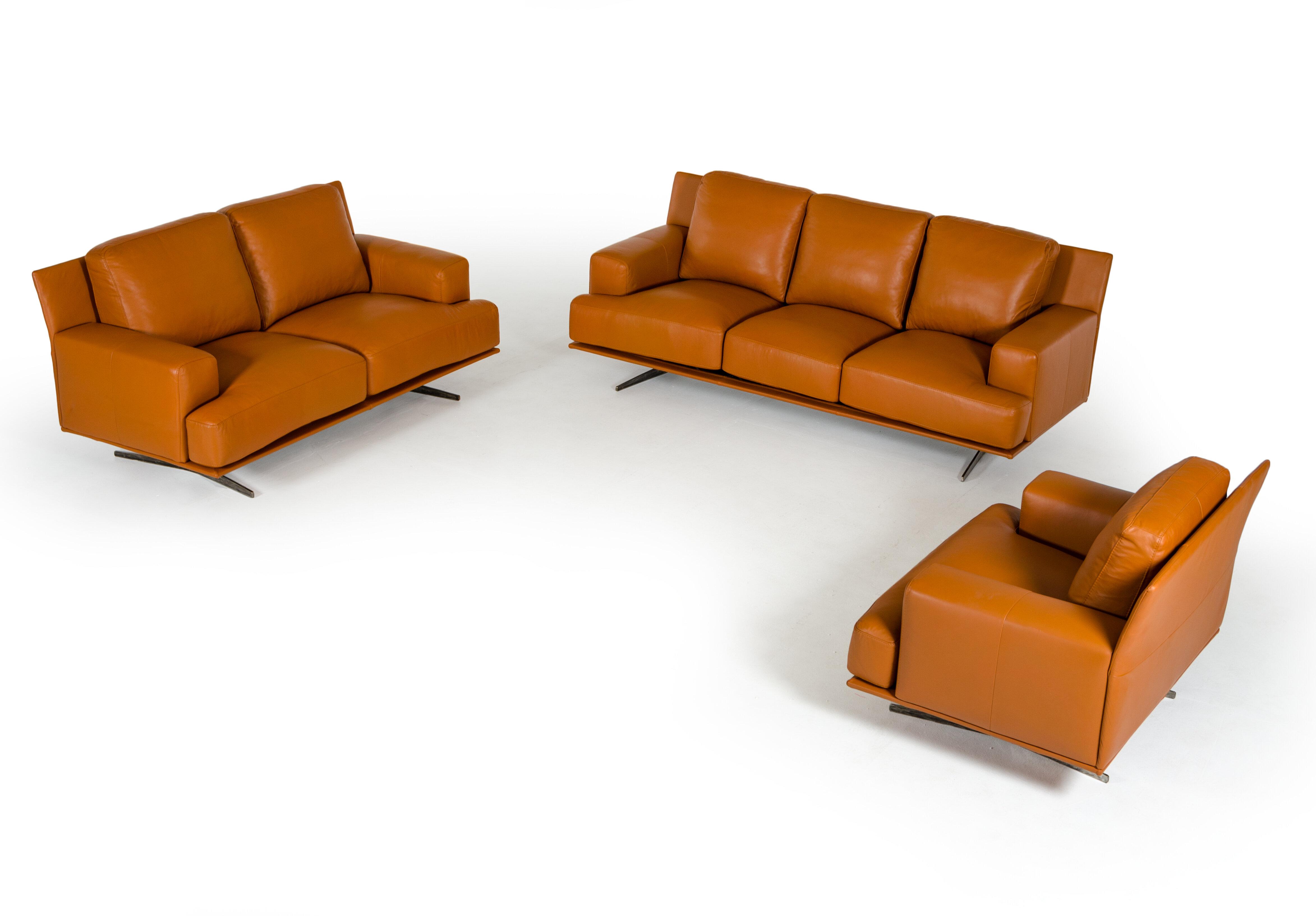 Corrigan Studio Lane 3 Piece Leather Living Room Set | Wayfair