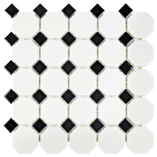 Retro Porcelain Mosaic Tile in Matte White/Black