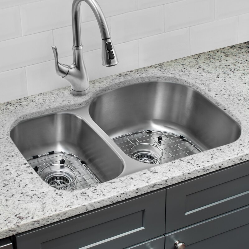 gauge stainless steel 32   x 21   double basin undermount kitchen sink with faucet and cahaba gauge stainless steel 32   x 21   double basin undermount      rh   wayfair com