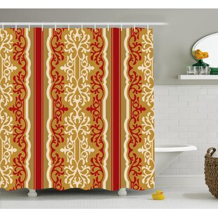 Arnots Middle East Swirl Motif Shower Curtain + Hooks