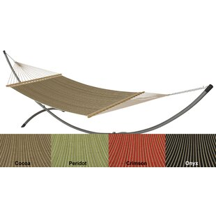 Red Barrel Studio Mindi Sunbrella Harwood Deluxe Quilted Reversible Hammock with Stand