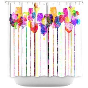 Wine Glasses Single Shower Curtain