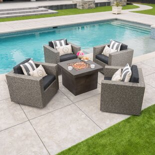Burch 5 Piece Rattan Seating Group with Cushions