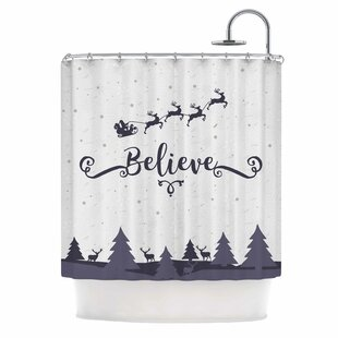 Famenxt Christmas Believe Illustration Single Shower Curtain