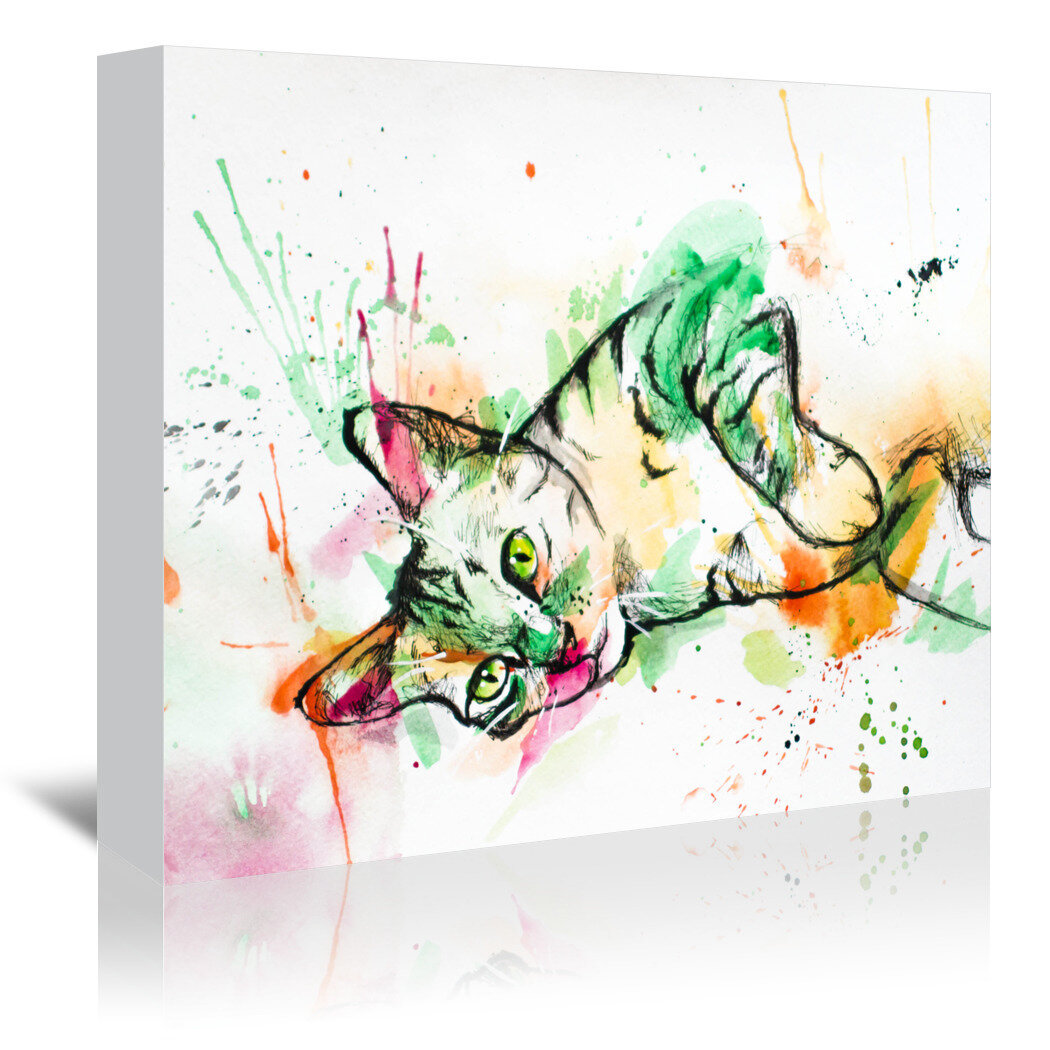 East Urban Home Tabby Cat Graphic Art Print On Wrapped Canvas Wayfair