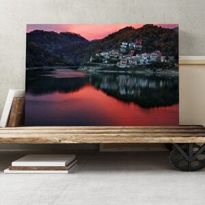 Rieti Italy Sunset Lake and Landscape Photographic Print on Canvas