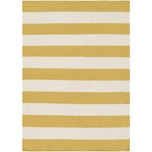 Best Reviews Stonebridge Hand-Woven Wool Pale Orange/White Area Rug ByBreakwater Bay