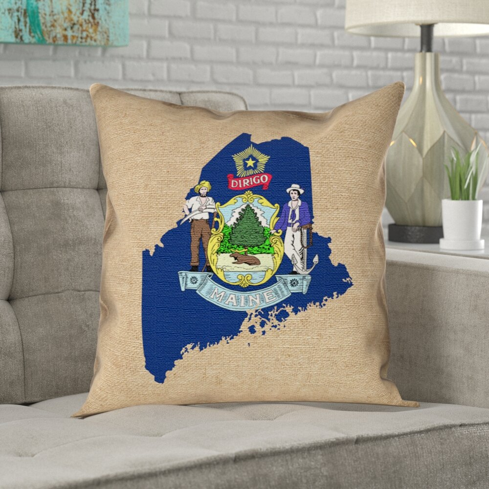 Ivy Bronx Mendell Maine State Flag Pillow In Faux Linen Double Sided Print Throw Pillow Wayfair