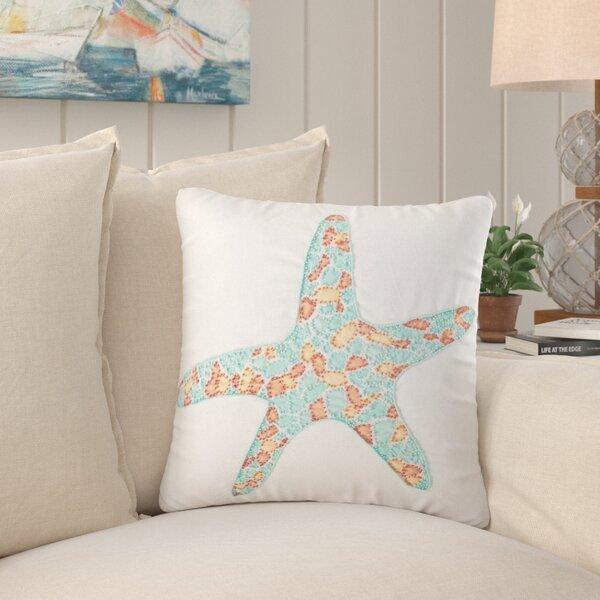 Coastal Grand Starfish Hand Beaded 18 x 18 Pillow Cotton Nautical Decor Beach