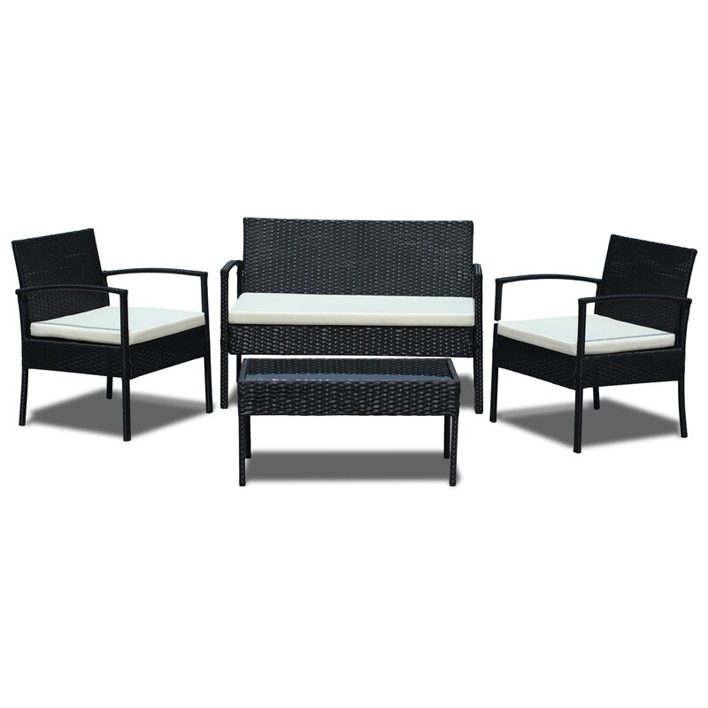4 Piece Rattan Sofa Set with Cushions