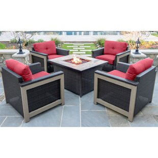 Newstead 5 Piece Conversation Set With Cushions by Longshore Tides Coupon