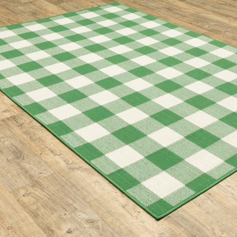 August Grove Leighty Plaid Green Ivory Indoor Outdoor Area Rug Reviews Wayfair
