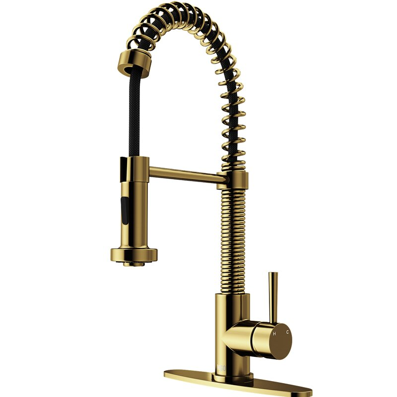 Edison Pull Down Single Handle Kitchen Faucet With Deck Plate Reviews Allmodern